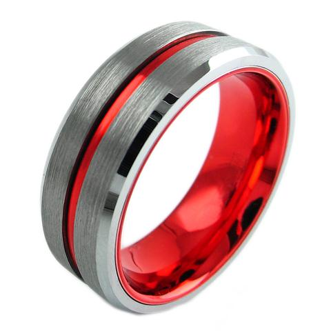 Silver Tungsten Ring With Red Stripe Red Inside