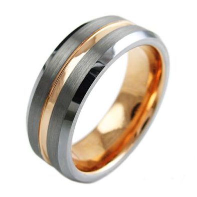 silver tungsten ring rose gold stripe