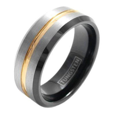 silver tungsten ring rose gold stripe black inside