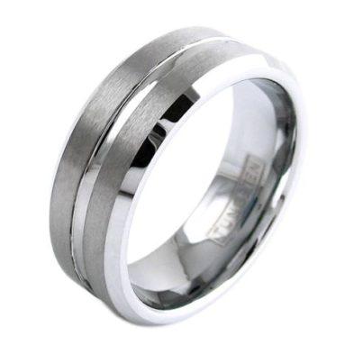 silver tungsten ring silver stripe