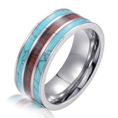 silver tungsten ring turquoise koa wood