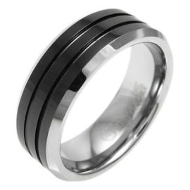 silver tungsten ring wedding band two grooves