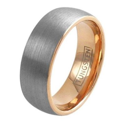 silver tungsten ring wedding band with rose gold inside