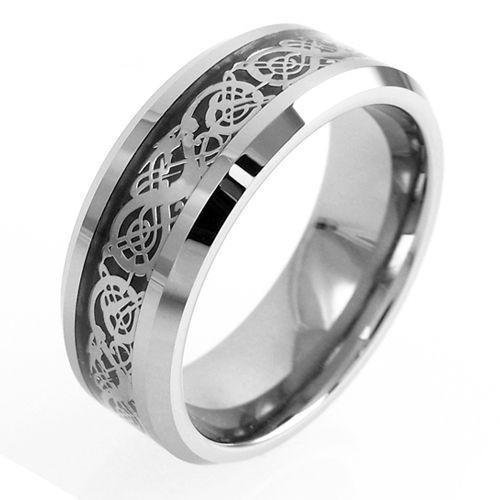 silver tungsten ring wedding band with silver celtic dragon