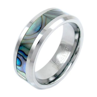 silver tungsten ring with abalone inlay mirror