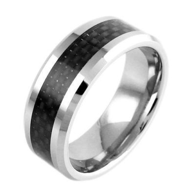 silver tungsten ring with black carbon fiber