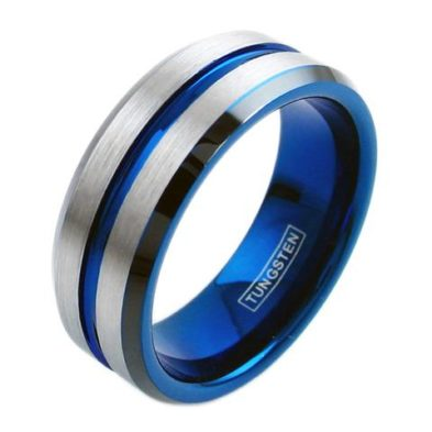 silver tungsten ring with blue stripe blue inside