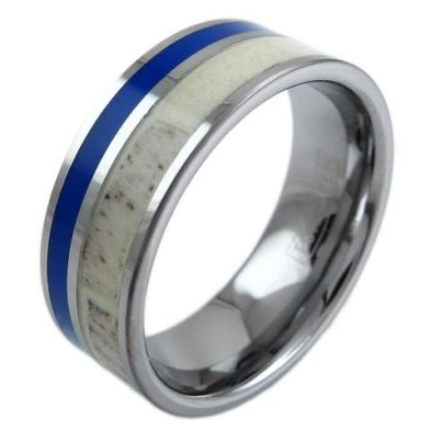 silver tungsten ring with deer antler