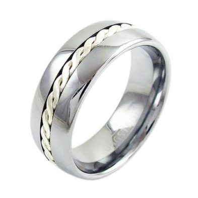 silver tungsten ring with silver braid
