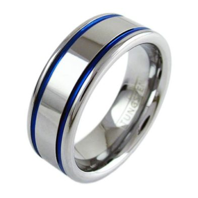 silver tungsten ring with two blue stripes racing