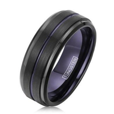 stepped edges black tungsten ring purple stripe inside