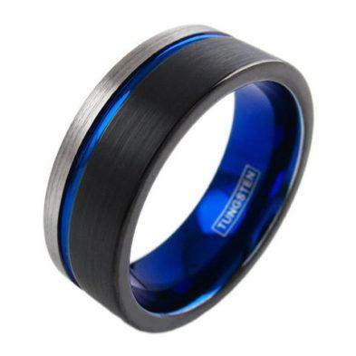 three tone black blue silver tungsten ring