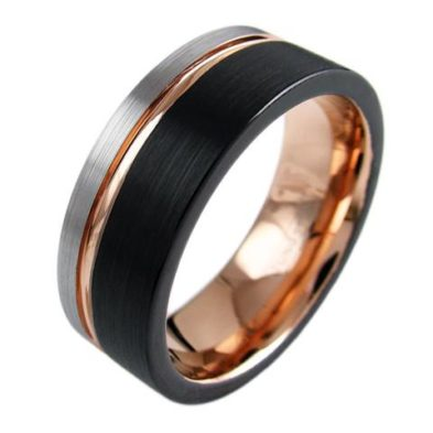 three tone black tungsten ring with rose gold