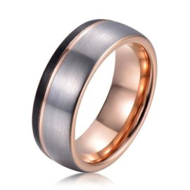 three tone silver rose gold black tungsten ring band