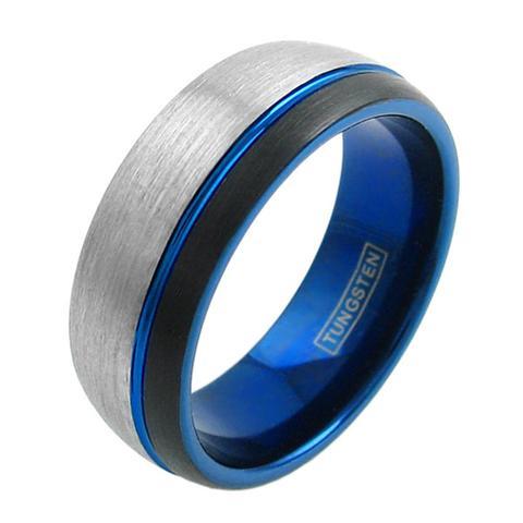 tri tone tungsten ring blue black