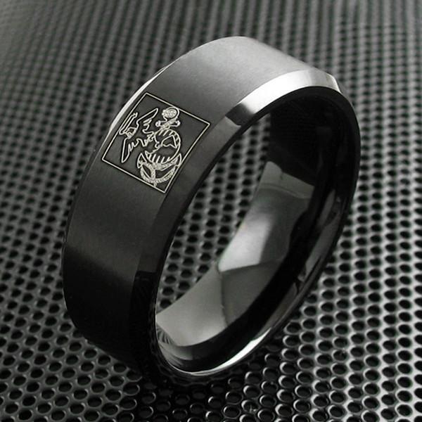 Black Tungsten Ring W Marine Corps Logo