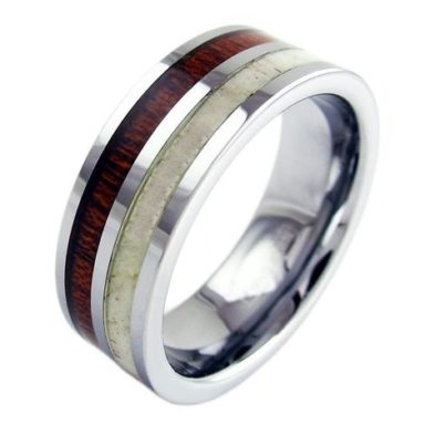 tungsten ring with deer antler koa wood