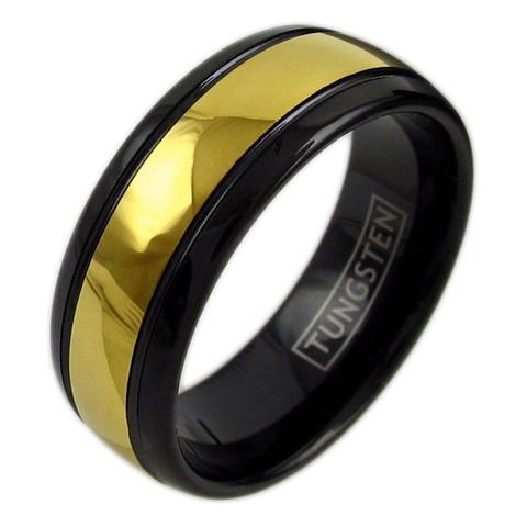 two tone black tungsten ring wedding band 14k gold