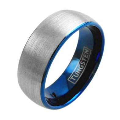 two tone blue tungsten ring with wide silver