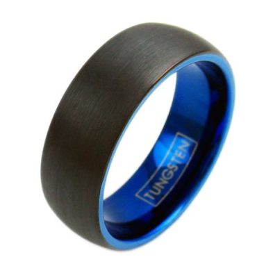 two tone cobalt blue tungsten ring black inside
