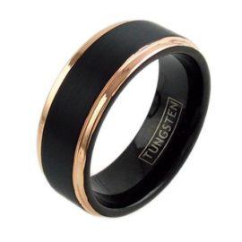 two tone rose gold tungsten ring wedding band ridged edges