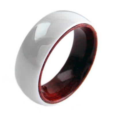 white ceramic ring with koa wood inside