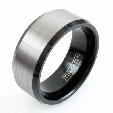 wide silver tungsten ring band 10mm black inside